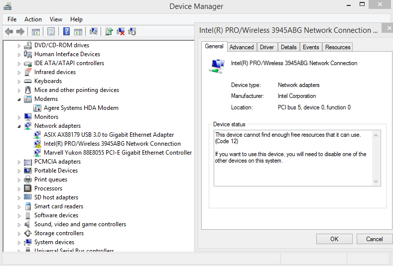 Device Manager Error 12